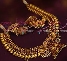 gold antique necklace sets images Nl9372 gheru reddish gold plated peacock mango design antique JPG