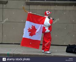 Standing Flag Banners A Canadian Man Holding A Canadian Flag And Wearing A Canadian