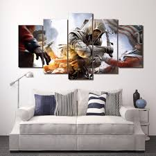 5 panel assassin s game character framed canvas wall art game 5 panel assassin s game character framed canvas wall art