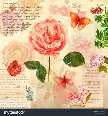 vintage style collage victorian roses other stock illustration