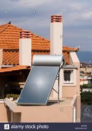 Ziegelhaus Solaranlage Auf Dach Des überdachten Ziegel Haus Stockfoto Bild