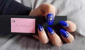 blue press on nails false nails fake nails glue on nails
