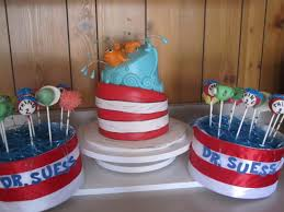 dr suess baby shower custom made cake pops to match and containers