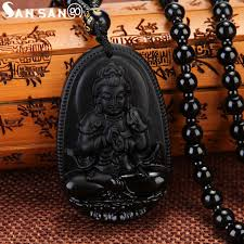 black beaded pendant necklace images High grade black color glass buddha pendant necklace beaded chain jpg