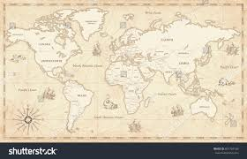 map in great detail illustration world map vintage stock vector 601754189