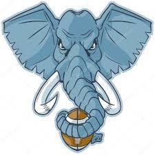 elephant mascot head holding football vector cartoon clip art