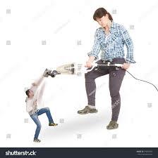 Vacuuming Angry Wife Vacuuming Her Husband Stock Photo 270966407 Shutterstock