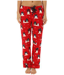 pj salvage fall into flannel penguin print pajama set in red lyst