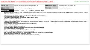Purchase Resume Sample by Purchasing Officer Job Title Docs