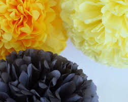 Yellow Pom Pom Flowers - tissue pom yellow gray etsy