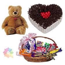 feet height brown colour teddy bear with 1 kg heart shape black