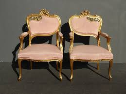 Unique Accent Chair Pair Of Unique Vintage French Rococo Carved Wood Gold Accent