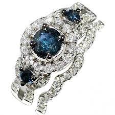luxury diamonds rings images Blue diamond bridal wedding set 1 3ct 14k white gold halo with jpg