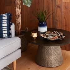cost plus coffee table cost plus world market round wood and embossed metal kiran coffee