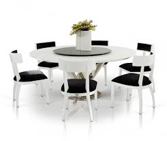 Modern Black And White Dining Table A U0026x Spiral Modern Round White Dining Table With Lazy Susan