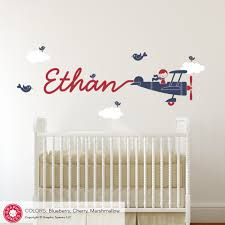 all graphic spaces airplane skywriter name boy wall decal