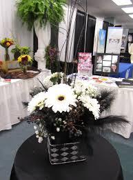 black and white centerpieces dodge the florist