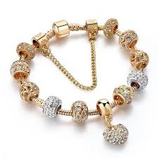 gold bracelet heart charm images Szelam luxury crystal heart charm bracelets bangles gold jpg