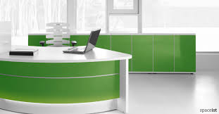Glass Reception Desk Colourful Reception Desks Valde Green Desk