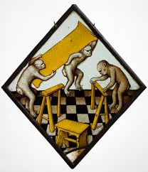 three building roundel with three apes building a trestle table work of