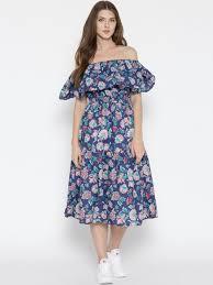 buy sera women blue printed fit u0026 flare midi dress dresses for