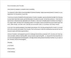 recommendation letter for student from teacher template letters of