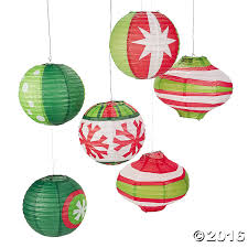 paper ornament lanterns green white pack of