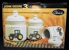 john deere canister set of 3 three piece by gibson 79 99 picclick john deere canister set of 3 three piece by gibson