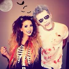 zoe and alfie at halloween looking quite like paul wesley and nina