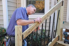 How To Fix Handrail To Newel Post Decks Com Deck Stair Railings