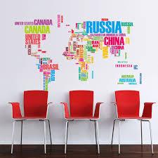 stickers bureau lettre de pays noms carte du monde stickers muraux amovible murale