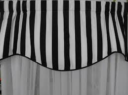 valance black and white stripe lined corded 50w x 18 long