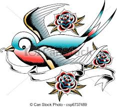 stock illustration of swallow and rose tattoo csp6737489 search