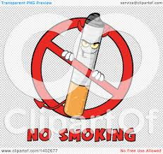 no smoking sign transparent background clipart of a cartoon devil cigarette mascot character in a