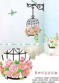 removable wall stickers bird cage pattern diy kids child bedroom can placed the wall fridge tile and any other hard surface places measuring cutting