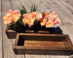 Wood Box Centerpiece by Wood Box Large Wood Box Centerpiece Rustic Centerpiece