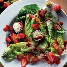 green salad with strawberries and strawberry balsamic vinaigrette
