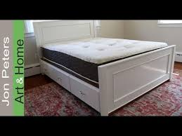 How To Build Platform Bed Frame With Drawers by How To Build A Platform Storage Bed With Drawers Youtube
