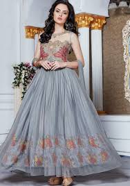 party wear dress designer heavy gray party wear gown indian