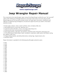 2010 jeep wrangler service manual jeep wrangler repair manual 1990 2011
