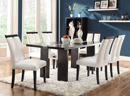 regular height casual dining black and white seven piece dining