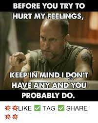 Hurt Feelings Meme - before you try to hurt my feelings keep in mindidont have any and