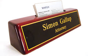 rose wood nameplates and desk nameplates with business card holder