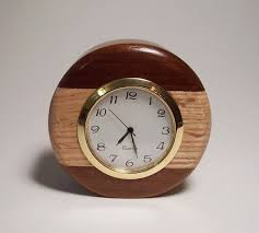 Small Clock For Desk Round Wood Clock Small Round Two Tone Wooden Desk Clock Made Of