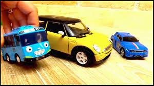 tayo cizgi film video tayo toys bussy speedy and car transporter mini cooper