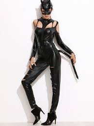 black faux leather jumpsuit halloween costumes with mask shein