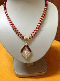 necklace designs with crystals images Buy red and gold crystal beads necklace with unique designer ear jpg