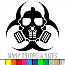 zombie outbreak skull gas mask bio hazard sticker decal 4 zoom