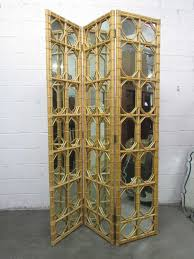 room dividers screens 1960s 3 panel rattan and mirror floor screen room divider for sale