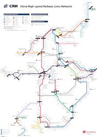 Metro Train Map Chinese High Speed Rail Crh Lines And Stations In The Style Of